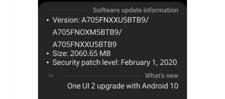 Samsung Galaxy A70 gets Android 10 update